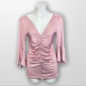 SUZANNE BETRO Plunging V Neck Long Sleeve Sz Small